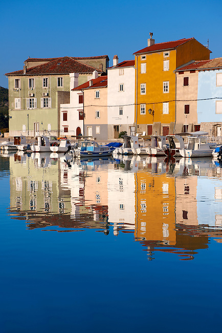 Cres old Town harbour with small local fising boats, Cres Island, Croatia