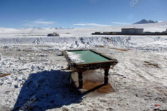 A pool table stood unused at a village on the shores of Lake Namsto, the highest altitude salt lake in the world. November 18, 2006