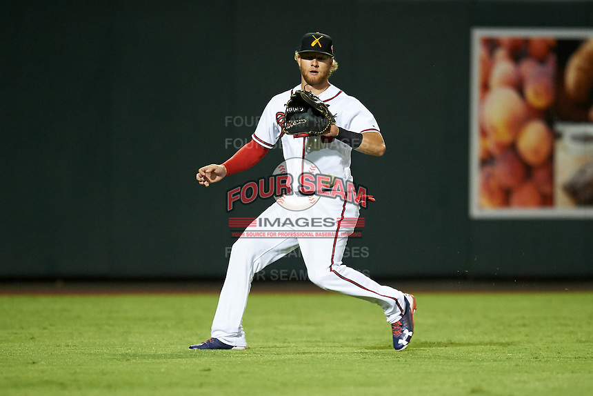 Salt River Rafters Dustin Peterson (16), of the Atlanta Braves organization, during a game against the Surprise Saguaros on October 21, 2016 at Salt River Fields at Talking Stick in Scottsdale, Arizona.  Salt River defeated Surprise 3-2.  (Mike Janes/Four Seam Images)
