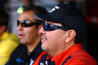 Sep 13, 2013; Charlotte, NC, USA; NHRA funny car driver Cruz Pedregon and brother Tony Pedregon during qualifying for the Carolina Nationals at zMax Dragway. Mandatory Credit: Mark J. Rebilas-