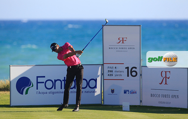 Alvaro Quiros (ESP) on the 16th tee during Round 3 of The Rocco Forte Open  at Verdura Golf Club on Saturday 20th May 2017.<br /> Photo: Golffile / Thos Caffrey.<br /> <br /> All photo usage must carry mandatory copyright credit     (&copy; Golffile | Thos Caffrey)