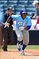 Daytona Cubs outfielder Oliver Zapata (1) runs to first after an at bat during a game against the Tampa Yankees  on April 13, 2014 at George M. Steinbrenner Field in Tampa, Florida.  Tampa defeated Daytona 7-3.  (Mike Janes/Four Seam Images)
