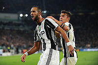 Calcio, Serie A: Juventus vs Milan. Torino, Juventus Stadium, 10 marzo 2017.<br /> Juventus' Mehdi Benatia, left, celebrates with his teammate Paulo Dybala after scoring during the Italian Serie A football match between Juventus and AC Milan at Turin's Juventus Stadium, at Turin's Juventus Stadium, 10 March 2017. <br /> UPDATE IMAGES PRESS/Manuela Viganti