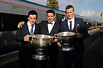 27-9-2014:  Paul Murphy, Aidan O'Mahony  and minor goalkeeper Shane Ryan at the Kerry Team homecoming in Rathmore, County Kerry last evening.<br /> Picture by Don MacMonagle