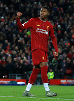 30th October 2019; Anfield, Liverpool, Merseyside, England; English Football League Cup, Carabao Cup, Liverpool versus Arsenal; Rhian Brewster of Liverpool punches the air after scoring during the penalty shootout  - Strictly Editorial Use Only. No use with unauthorized audio, video, data, fixture lists, club/league logos or 'live' services. Online in-match use limited to 120 images, no video emulation. No use in betting, games or single club/league/player publications