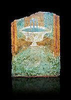 Roman fresco wall decorations of Viridarium L  of the Villa Farnesia, Rome. Museo Nazionale Romano ( National Roman Museum), Rome, Italy. Against a black background.<br /> <br /> Rooms B and D, clearly bedrooms (cubicula), were symmetrically arranged and projected farther forward than the large room C (the triclinium). They opened onto a rectangular unroofed space that must have been a garden (viridarium). This was a genuine hortus conclusus (enclosed garden). The walls that surrounded the real garden were decorated with a painted garden, like an extension of the real one. The south wall was decorated with the three panels shown here: within dense vegetation there are huts made of reeds, jetting fountains, and a marble seat. The most complete example of this kind of room is the one from the Villa of Livia (on display on this floor of the museum), the prototype for the fashion that spread throughout the Roman world of painting gardens on interior walls and around real garden spaces.