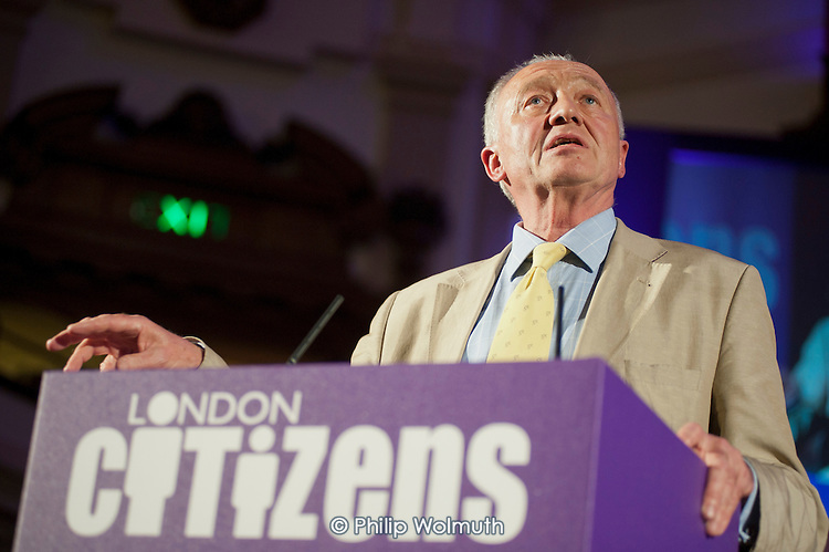 London Mayoral candidate Ken Livingstone.  London Citizens Mayoral Accountability Assembly, Central Hall, Westminster.