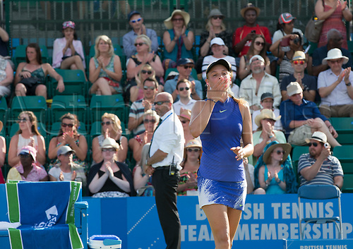 June 18th 2017, Nottingham, England; WTA Aegon Nottingham Open Tennis Tournament day 7 finals day;  Donna Vekic of Croatia blows a kiss to the crowd after her win in the final against Johanna Konta of Great Britain