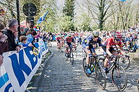 Mathew Haymen (AUS/Orica-Scott) & Jurgen Roelandts (BEL/Lotto-Soudal) side-by-side up the infamous Muur van Geraardsbergen (1100m/7.6%) that is back in the parcours after a 5 year hiatus<br /> <br /> 101th Ronde Van Vlaanderen 2017 (1.UWT)<br /> 1day race: Antwerp › Oudenaarde - BEL (260km)
