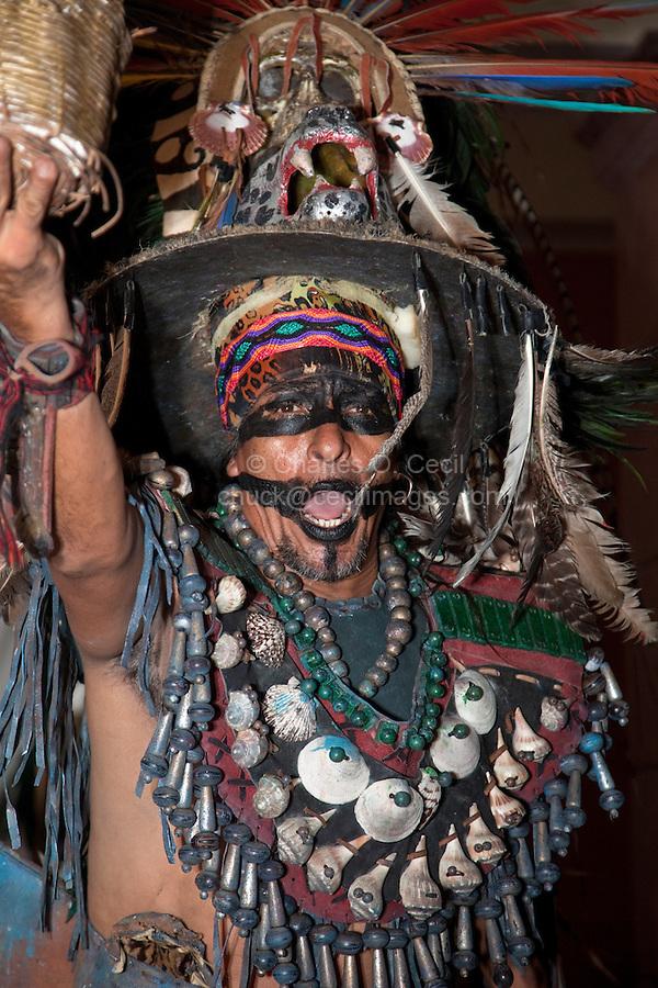 Mayan Dancer Representing Mythical Mayan Figure.  Playa del Carmen, Riviera Maya, Yucatan, Mexico.
