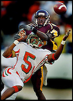 A BCC defender breaks up a pass to a Florida A&M receiver during the annual Florida Classic in Orlando.