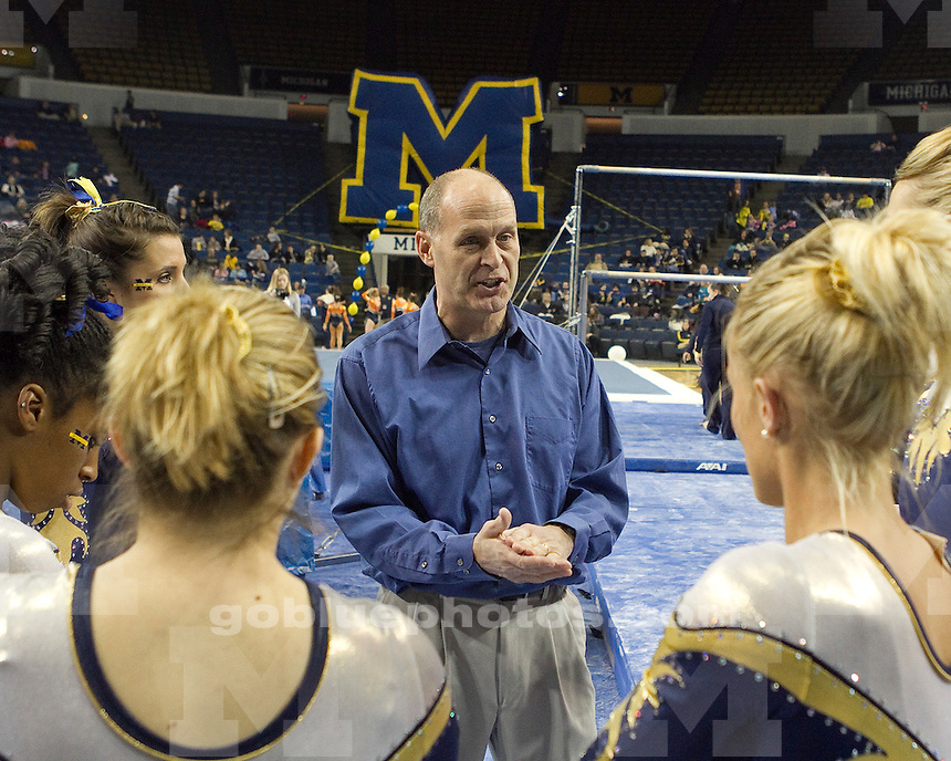 University of Michigan women's gymnastics team victory (first with 194.900 points) over Illinois (194.475) and Penn State (194.450) at Crisler arena in Ann Arbor, MI, on January 14, 2011.