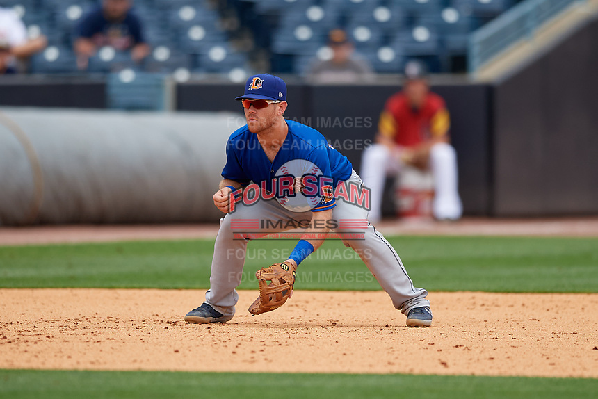 Durham Bulls third baseman Mac James (28) during an International League game against the Toledo Mud Hens on July 16, 2019 at Fifth Third Field in Toledo, Ohio.  Durham defeated Toledo 7-1.  (Mike Janes/Four Seam Images)
