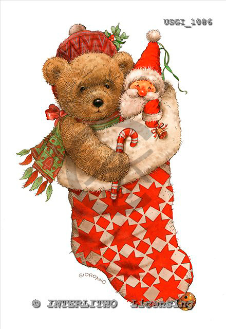 GIORDANO, CHRISTMAS ANIMALS, WEIHNACHTEN TIERE, NAVIDAD ANIMALES, Teddies, paintings+++++,USGI1086,#XA#,christmas stocking