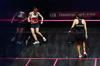 Sarah-Jane Perry of England smashes herself into the side wall in an attempt to chase down a ball during the Women's Singles Final. Gold Coast 2018 Commonwealth Games, Squash, Oxenford Studios, Gold Coast, Australia. 9 April 2018 © Copyright Photo: Anthony Au-Yeung / www.photosport.nz /SWpix.com