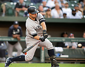 New York Yankees catcher Gary Sanchez (24) connects for a three-run home run giving his team an early 3 - 0 lead in the game against the Baltimore Orioles at Oriole Park at Camden Yards in Baltimore, MD on Tuesday, May 21, 2019.<br /> Credit: Ron Sachs / CNP<br /> (RESTRICTION: NO New York or New Jersey Newspapers or newspapers within a 75 mile radius of New York City)