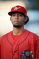 Williamsport Crosscutters pitcher Rafael Carvajal (45) before a game against the Mahoning Valley Scrappers on August 28, 2018 at BB&T Ballpark in Williamsport, Pennsylvania.  Williamsport defeated Mahoning Valley 8-0.  (Mike Janes/Four Seam Images)