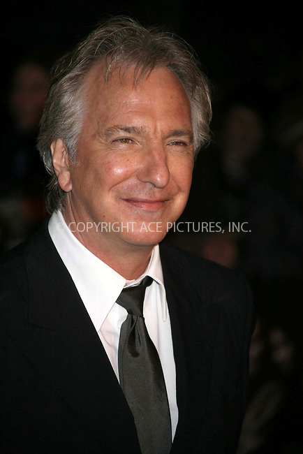 Ferrari Press Agency.Sweeny  1.Ref TMK 1966.11/01/08.See Ferrari  text.OPS:Actor Alan Rickman   arrives for the premiere of movie , Sweeny Todd, in which he co-stars.Odeon Leicester Square,  London.10/01/07.pictures by Tracy Moreno-King