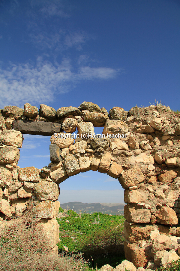 Israel, Jezreel Valley, ruins of the Ottoman tower in Tel Jezreel