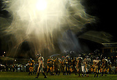 Saucon Valley's Zach Laudenslager leaves the rain drench field at the end of the Saucon Valley against Notre Dame Green Pond  football game at Notre Dame Green Pond on Friday October 7, 2005. Saucon Valley won. (JANE THERESE/Special to The Morning Call).