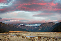 Dawn over Waimakariri River flats and Southern Alps, Arthur's Pass National Park, South Westland, South Island, New Zealand, NZ