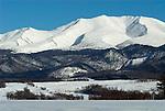Moutain range at Shiretoko National Park, Northern Hokkaido Island, Japan, japanese, Asian, wilderness, wild, untamed, snow, ice.Japan....