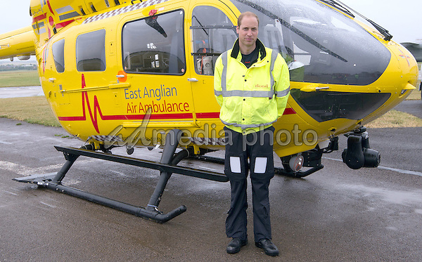 13 July 2015 - Cambridge, United Kingdom - Prince William The Duke of Cambridge begins his new job with the East Anglian Air Ambulance (EAAA) at Cambridge Airport, Cambridgeshire. The former RAF search and rescue helicopter pilot will work as a co-pilot transporting patients to hospital from emergencies ranging from road accidents to heart attacks. Photo Credit: Alpha Press/AdMedia