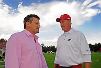 Jul 31, 2009; Flagstaff, AZ, USA; Arizona Cardinals head coach Ken Whisenhunt (right) talks with team president Michael Bidwill during training camp on the campus of Northern Arizona University. Mandatory Credit: Mark J. Rebilas-