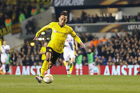 Goalscorer Pierre-Emerick Aubameyang of Borussia Dortmund is through on goal only to be tackled during the UEFA Europa League match between Tottenham Hotspur and Borussia Dortmund at White Hart Lane, London, England on 17 March 2016. Photo by David Horn / PRiME Media Images