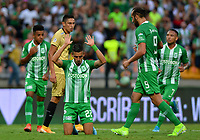 MEDELLÍN-COLOMBIA, 13-10-2019: Daniel Muñoz de Atlético Nacional, celebra el gol anotado a Rionegro Águilas Doradas, durante partido de la fecha 17 entre Atlético Nacional y Rionegro Águilas Doradas, por la Liga Águila II 20117, jugado en el estadio Atanasio Girardot de la ciudad de Medellín. / Daniel Muñoz of Atletico Nacional celebrates the scored goal to Rionegro Águilas Doradas, during a match of the 17th date between Atletico Nacional and Rionegro Aguilas Doradas, for the Aguila Leguaje II 20117 played at the Atanasio Girardot Stadium in Medellin city. / Photo: VizzorImage / León Monsalve / Cont.