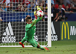 England's Nathan Redmond sees his penalty saved by Germany's Julian Pollersbeck during the UEFA Under 21 Semi Final at the Stadion Miejski Tychy in Tychy. Picture date 27th June 2017. Picture credit should read: David Klein/Sportimage