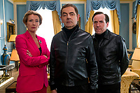 Emma Thompson as Prime Minister, Rowan Atkinson as Johnny English and Ben Miller as Bough in Johnny English Strikes Again (2018)<br /> *Filmstill - Editorial Use Only*<br /> CAP/RFS<br /> Image supplied by Capital Pictures