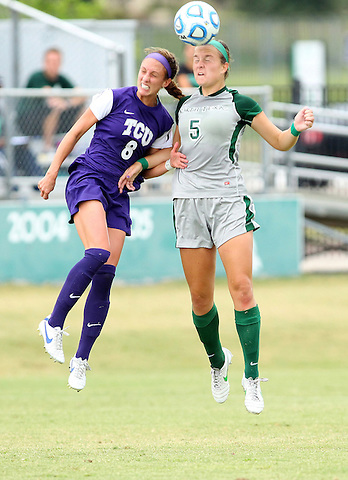 Denton, TX - SEPTEMBER 16: Jackie Moreau #5 of the North Texas Mean Green soccer in action against the Texas Christian University Horned Frogs at the Mean Green Village Soccer Field University in Denton on September 16, 2012 in Denton, Texas. (Photo by Rick Yeatts)