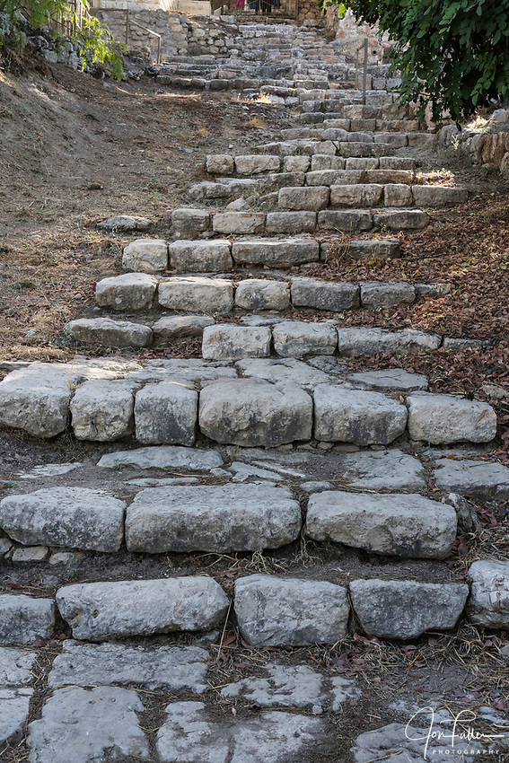 This ancient stairway by the Church of Saint Peter in Gallicantu leads from the upper city of Jerusalem down to the lower city and the Valley of Kidron.  It is thought that Jesus would have taken these stairs in his walk from the room of the Last Supper to Gethsemane, and would have been brought back up these stairs to his trial by the Sanhedrin after his arrest that same night.