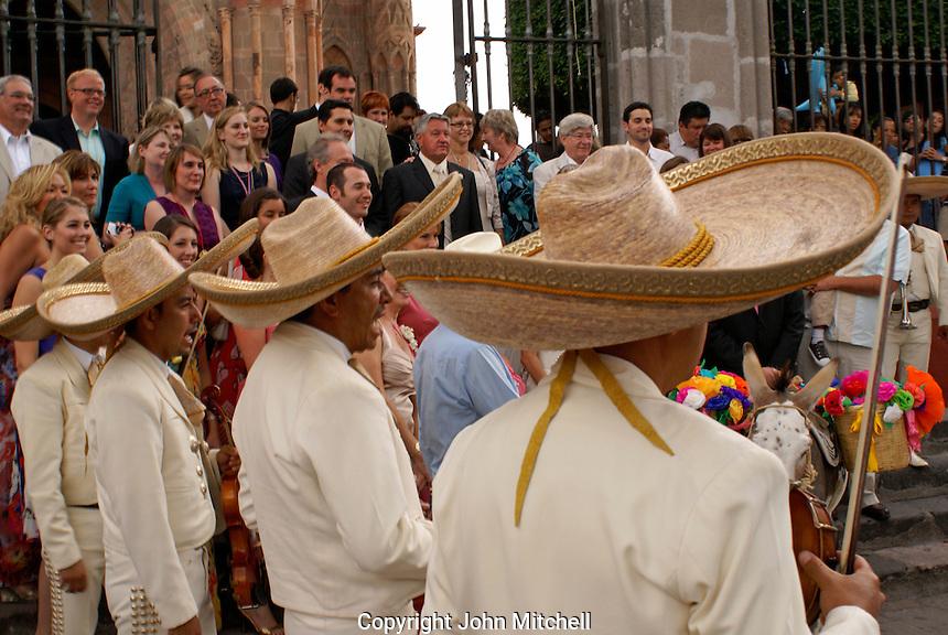 Mariachis seranading at a Mexican wedding in San Miguel de Allende, Mexico