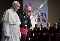 Pope Francis Arcivesco Cesare Nosiglia.Meeting with young people, during the visit of Pope Francis in Turin,Italy. june 21 2015