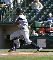 June 1, 2004:  Outfielder Nook Logan of the Toledo Mudhens during a game at Frontier Field in Rochester, NY.  The Mudhens are the Triple-A International League affiliate of the Detroit Tigers.  Photo By Mike Janes/Four Seam Images