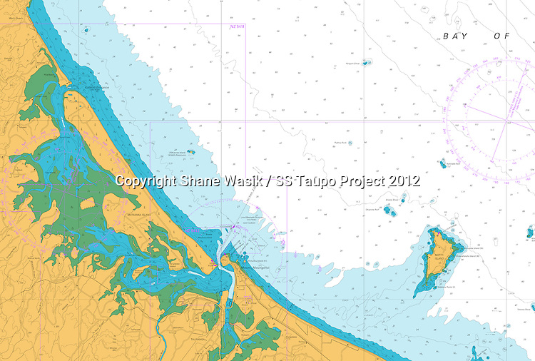 Bay of Plenty Chart. Wreck of the SS Taupo marked on chart. (Credit LINZ)