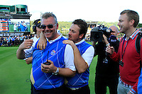 Vice Captain Darren Clarke and Graeme McDowell celebrate winning on the 18th green after the Singles Matches during the Final Day of the The 2010 Ryder Cup at the Celtic Manor, Newport, Wales, 3rd October 2010..(Picture Eoin Clarke/www.golffile.ie)