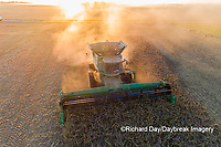 63801-13315 Harvesting soybeans at sunset in fall-aerial  Marion Co. IL