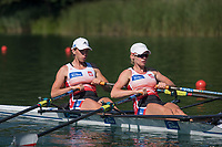 Lucerne, SWITZERLAND, 13th July 2018, Friday, POL W2X., Bow, Krystyna LEMANCZYK-DOBRZELAK and Martyna MIKOLAJCZAK, before their heat of the women's Dpuble Sculls, start area, FISA World Cup series, No.3, Lake Rotsee, Lucerne, © Peter SPURRIER,