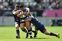 Ben Tapuai of Bath Rugby takes on the Stade Francais defence. European Rugby Challenge Cup Semi Final, between Stade Francais and Bath Rugby on April 23, 2017 at the Stade Jean-Bouin in Paris, France. Photo by: Patrick Khachfe / Onside Images