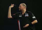 29.12.2015. Alexandra Palace, London, England. William Hill PDC World Darts Championship. Raymond van Barneveld throws the first dart