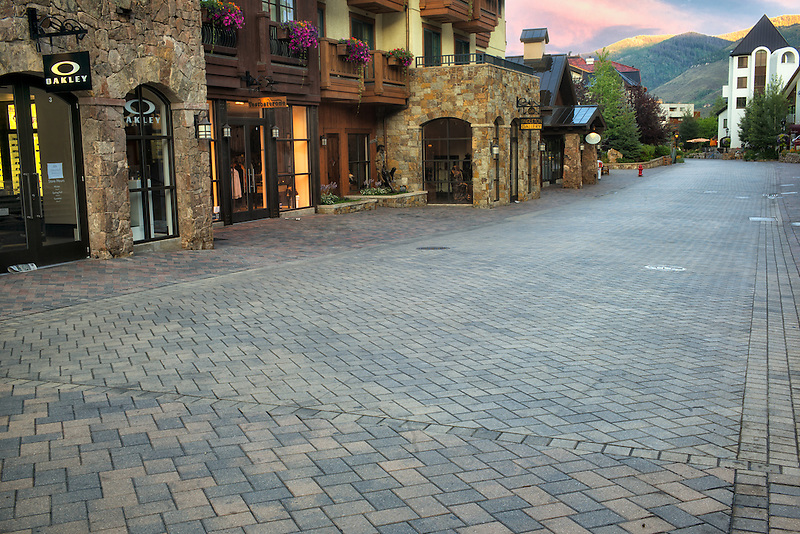 Stone roadway in Vail Village. Vail, Colorado