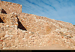 Reconstructed Pueblo Walls, North Central Rooms and Citadel, Tuzigoot Sinagua Pueblo, Tuzigoot National Monument, Verde Valley, Arizona