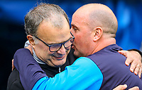 Leeds United manager Marcelo Bielsa is greeted by Wigan Athletic manager Paul Cook before the match<br /> <br /> Photographer Alex Dodd/CameraSport<br /> <br /> The EFL Sky Bet Championship - Wigan Athletic v Leeds United - Sunday 4th November 2018 - DW Stadium - Wigan<br /> <br /> World Copyright &copy; 2018 CameraSport. All rights reserved. 43 Linden Ave. Countesthorpe. Leicester. England. LE8 5PG - Tel: +44 (0) 116 277 4147 - admin@camerasport.com - www.camerasport.com