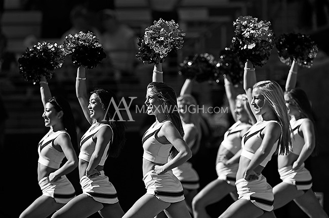 Husky cheerleaders perform a routine on a sunny game day.