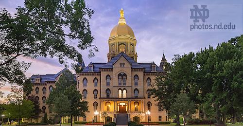 July 12, 2016; Main Building at dusk (Photo by Matt Cashore/University of Notre Dame)