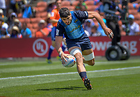 Argentina's German Schulz scores during the men's pool match against Fiji. Day two of the 2020 HSBC World Sevens Series Hamilton at FMG Stadium in Hamilton, New Zealand on Sunday, 26 January 2020. Photo: Dave Lintott / lintottphoto.co.nz