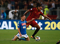 Juan Jesus  Dries Mertens  during the  italian serie a soccer match, AS Roma -  SSC Napoli       at  the Stadio Olimpico in Rome  Italy , 14 ottobre 2017